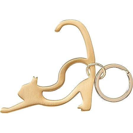 銅の非接触キーホルダー ネコ