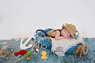 PATTERN Crochet Newborn Fisherman Hat and Suspenders with Fishing Pole and Amigurumi Fish, Baby Photo Prop Outfit, Halloween Costume