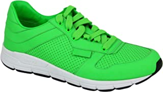 Gucci Running Neon Green Leather Lace up Sneakers 369088 3707
