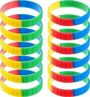 60 Pieces Silicone Wristbands Rainbow Wristbands Colorful Kids Building Block Bracelet Wristbands for Kids Party Favor, Kids Size Color 1