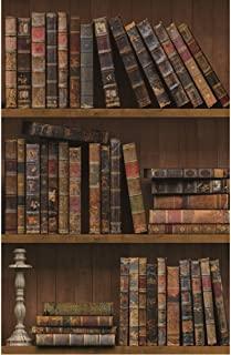 Blooming Wall 1023 Prepasted Vintage Book Shelf Peel and Stick Wallpaper Décor (48 Sq.Ft/Roll))