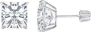 14K Gold Square Solitaire Princess Cut Cubic Zirconia CZ...