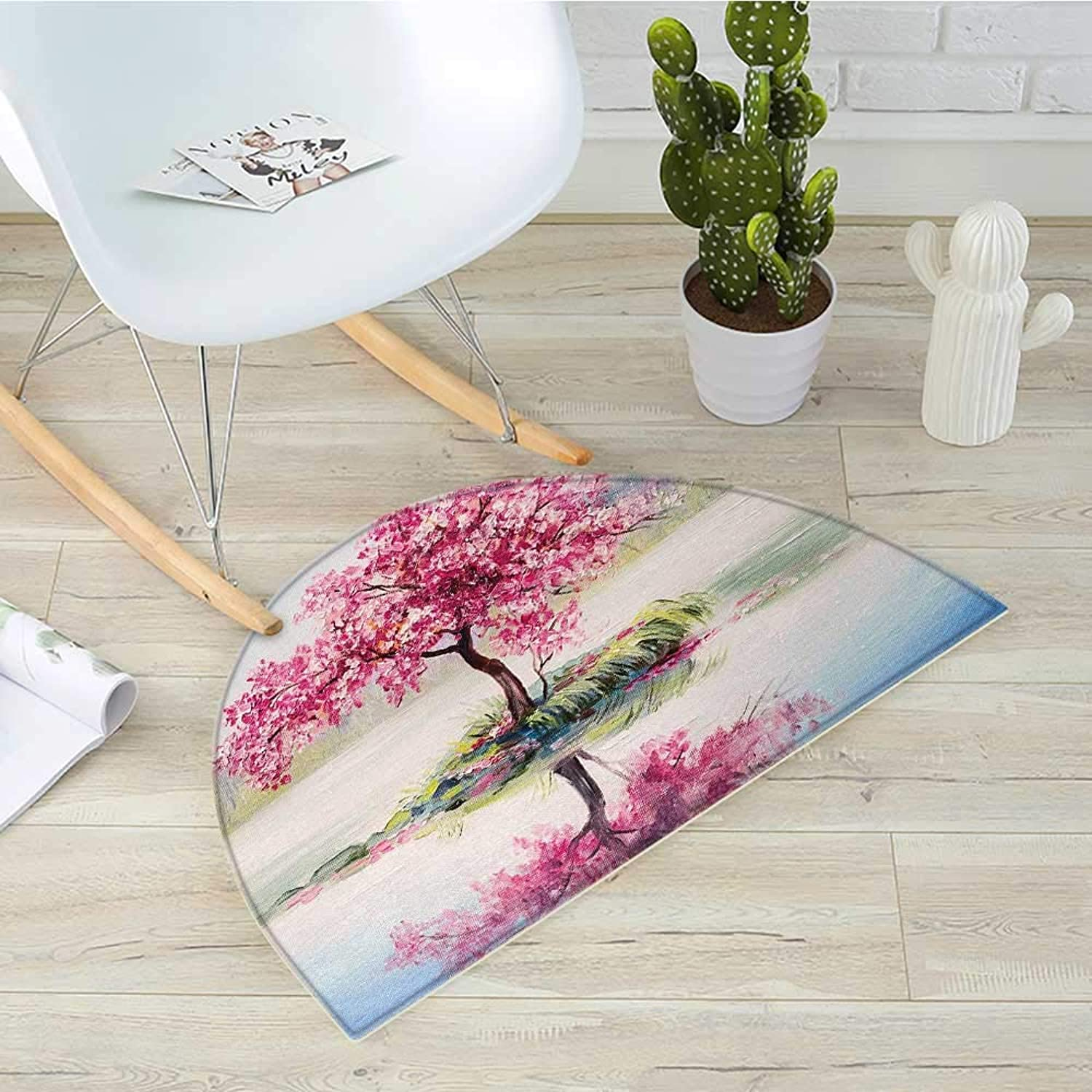 Country Semicircular CushionImage of Blooming Japanese Cherry Tree Sakura on The Lake Soft Romantic Culture Work Entry Door Mat H 43.3  xD 64.9  Multi
