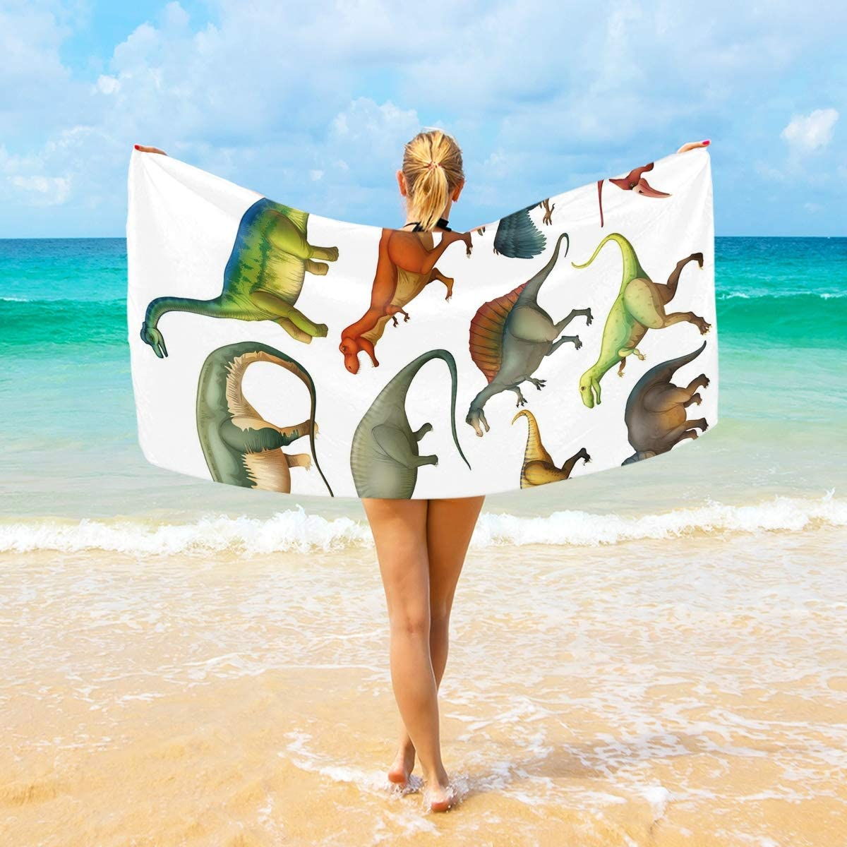 DoubleCW Dinosaur Fees free Microfiber Beach Towel Quick Dry Detroit Mall Tra Oversized