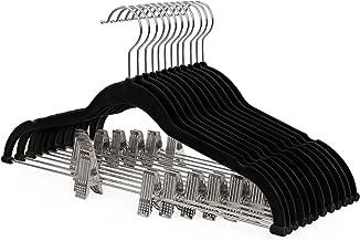 Songmics CRF12B Broekhangers, fluweel, met brug en clips, pak hanger, dun, antislip, ruimtebesparend, 360 ° draaibare haa...