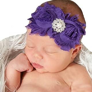Miugle Baby Girls Rhinestone Flower Headbands Baby Bows Purple