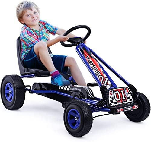 HOMGX Pedal Go Kart, Outdoor Kids Pedal Go Kart with Adjustable Bucket Seat, Steering Wheel, Rubber Wheels, Brake, Pe...