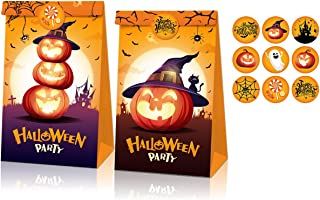 12 Packs Halloween Treats Bags+18 Pcs Halloween Stickers Party Favors,Kids Halloween Candy Bags for Trick or Treating,Mini...
