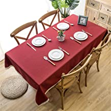 wrgfhb Waterproof Solid Color Imitation Cotton and Linen Tassel lace Geometric Rectangular Coffee Table Tablecloth 135x180cm Red + Decorative lace