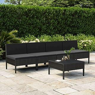 vidaXL Set de Sofás de Jardín 5 Piezas y Cojines Asiento Butaca Descanso Sofá Mueble Exterior Patio Elástica Estable Duradera Ratán Sintético Negro