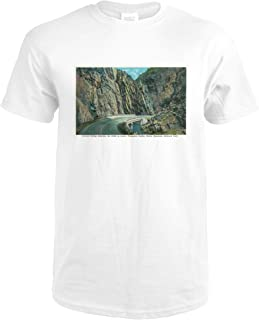 Rocky Mt. National Park, CO - Curved Bridge and Cliffs in Lower Thompson Canyon View 29352 (Premium White T-Shirt X-Large)