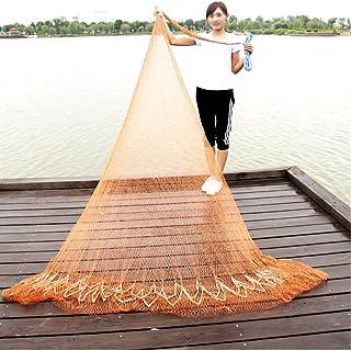 NACHEN Hand Throw Fishing Net Nylon Mesh Net with Hand String and Heavy Ring