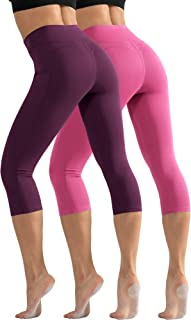 Cadmus High Waist Yoga Capri with Pockets, Tummy Control, Workout Pants for Women Stretch Yoga Leggings with Pockets