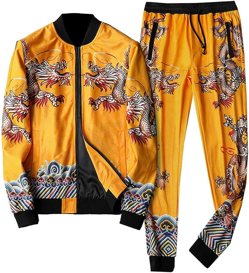 [Alternative dealer] Men Luxury Gold Dragon Fall Tracksuit Jacket+Pant Menswear Ranking TOP14 5XL