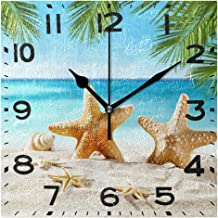 Naanle 3D Trendy Printed 8 Inch Square Wall Clock, Battery Operated Quartz Analog Quiet Desk Clock for Home,Office,School 8in Multi g19672585p240c275s440