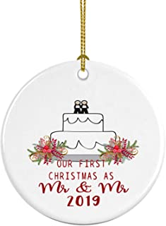 Delicious Accessories Our First Christmas as Mr and Mr 2019 Ceramic Christmas Ornament Gay Newlywed Gift Pride LGBT Same Sex Marriage Wedding Cake Topper