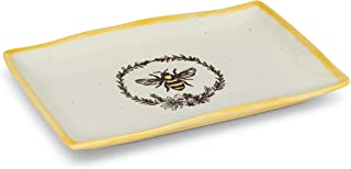 Abbott Collection 27-Crestwood-RECT Bee with Wreath Rectangle Platter, 7 x 10 inches L, Ivory
