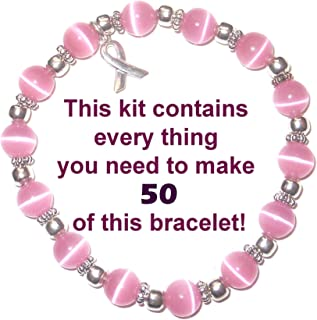 Cancer Awareness Bracelet Kit by Hidden Hollow Beads, Makes 50 or 65, 8mm or 6mm Stretch Cord Bracelets, Fundraisers, Relay for Life, Pink Out Day (8mm Pink Beads - Makes 50 Bracelets)