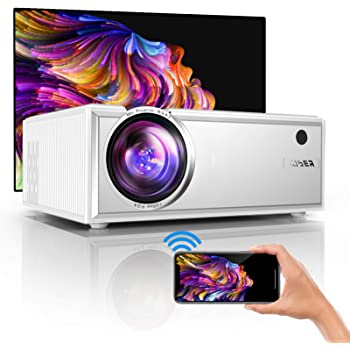 "YABER Y61 WiFi Mini Projector 5500 Lux Full HD 1080P and 200"" Supported, Portable Wireless Mirroring Projector for iOS/Android/TV Stick/PS4/PC Home & Outdoor"
