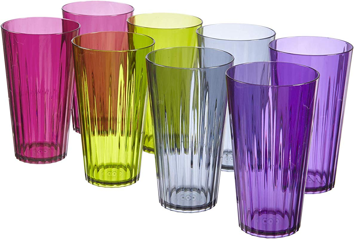 Rio 20 Ounce Plastic Drinking Cups Set Of 8 In 4 Seasonal Colors