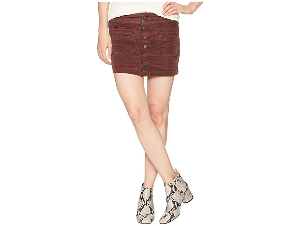 Free People Joanie Cord Solid Skirt (Chocolate) Women