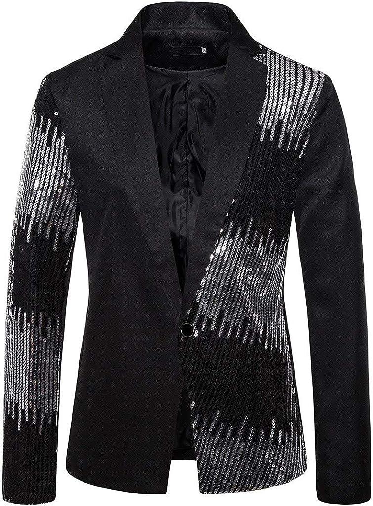 eipogp Men's Sequins Patchwork Suit Jacket Luxury Blazer 1 Button Slim Fit Tuxedo Notched Lapel Stylish Cosume for Party