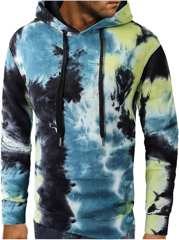 Qsctys Men's Casual Pullover Hoodies Long Sleeve Hooded Sweatshirts Tie-Dye Fashion Lightweight Sport Crewneck Blouse Tshirts