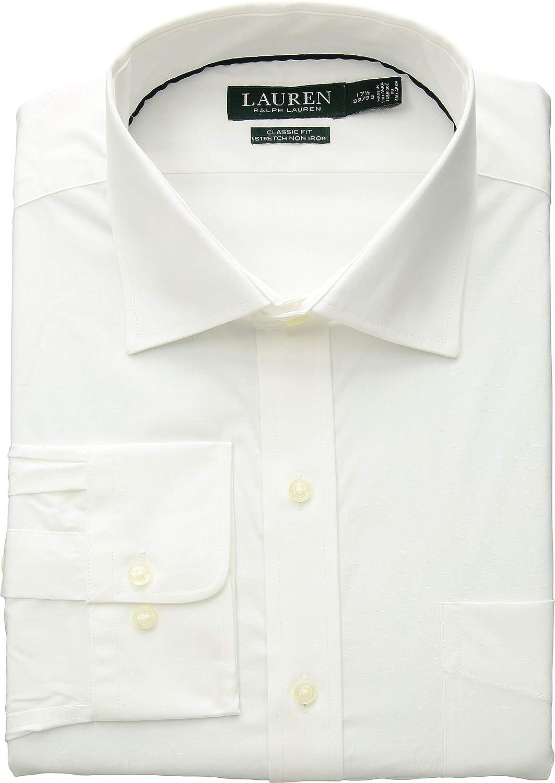 LAUREN RALPH LAUREN Non-Iron Classic Fit Stretch Poplin Dress Shirt White 17.5 x 32-33