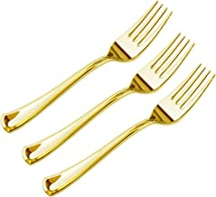 JL Prime 50 Piece Gold Plastic Forks Bulk Set, Gold Plastic Cutlery Set, Heavy Duty Utensils for Party & Wedding, Disposab...