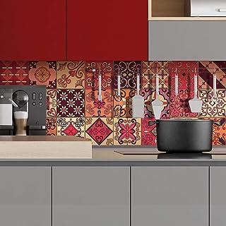 Stickers Carrelage Adhésif - Sticker Autocollant Carreaux de Ciment – Décoration Murale Stickers Tiles pour Salle de Bain ...