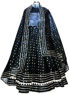 Mamta women's Satin Lehenga Choli (FF-5075, Black, Free Size)