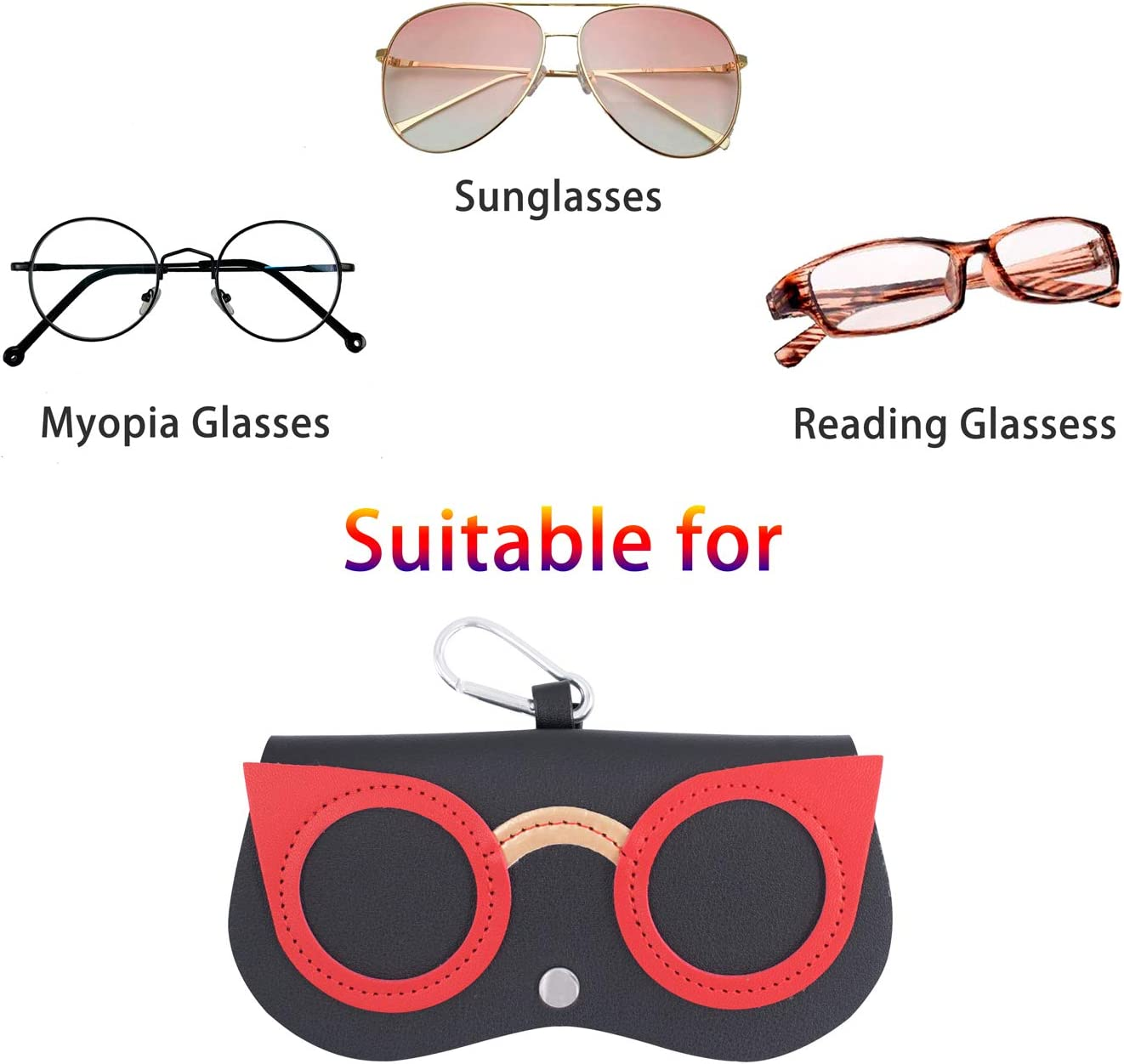 SnowTing 2 PCS Cute Sunglasses Cases, Portable PU Leather Eyeglass Case Box Pouch Protection from Getting Scratches Lightweight Soft Eyewear Bag for Women Men Girls Outdoor Exercise Decor