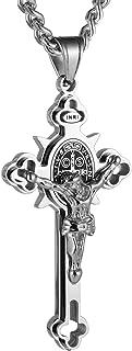 HZMAN Religion Stainless Steel Saint St St. Benedict Crucifix Cross Pendants Necklace INRI