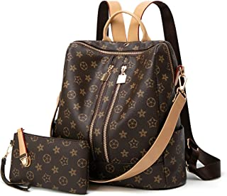 Checkered Backpack for Women Fashion Leather Anti-theft Rucksack Ladies Travel Bags Purses Phone Bags 3Pcs Set