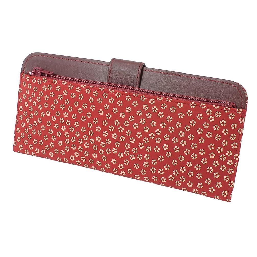 冷えるかける記憶INDEN-YA 印傳屋 印伝 財布 長財布 薄型 レディース 女性用 赤×白 小桜 2107-13-002