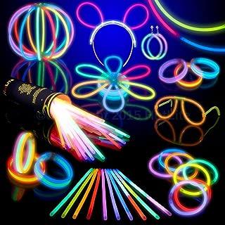 HotLite Pack de 100 Varitas Luminosas para Fiestas 20 cm - pulseras, collares, kits para crear gafas, pulseras triples, una diadema, pendientes, flores, una bola luminosa Premium y mucho más!