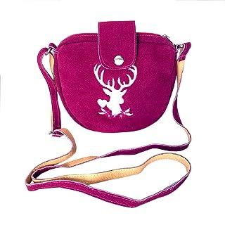 TaschenSensation Kleine Trachtentasche Dirndltasche Umhängetasche mit Trachten-Stickerei Leder pink
