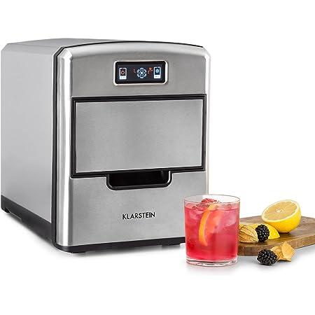 Klarstein Metropolitan - machine à glace, machine à glaçons, 12kg/24h, 180W, 3 tailles de glaçons, frigorigène R600a, réservoir d'eau de 2,15l, pelle, inox, argent