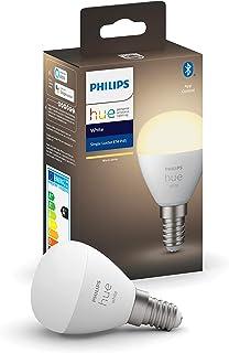 Philips Hue Bombilla inteligente LED esférica E14 (4.5 x 7.8, 5. 2 W, Bluetooth, luz blanca cálida, compatible con Alexa y...