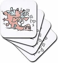 3dRose CST_104031_3 Funny Crash Landing Flying Pig Ceramic Tile Coasters, Set of 4