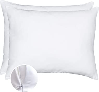 Bamboo Pillowcase - Set of 2 Zipper Pillow Cases King Size, Cooling Pillow Cases for Night Sweats