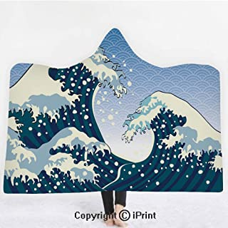 Small Boat Being Captured by a Large Wave Seastorm Tsunami Marine Aquatic Theme Decorative Standard Queen Size Printed Pillowcase K0k2t0 Ocean Pillow Sham Dark Blue White 30 X 20 inches