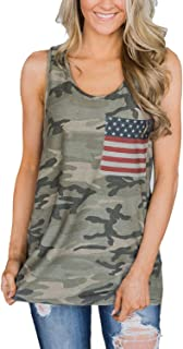 Women's Casual Camo Tops Sleeveless T Shirts Tank Tops