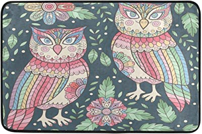 Ethnic Style Cute Owls with Flowers Door Mat Indoor Outdoor Floor Entrance Door Mat 23.6 x 15.7 inch