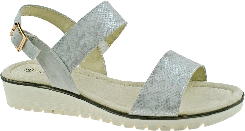 Cipriata Fabia Silver Womens Halter Back Buckle Sandals