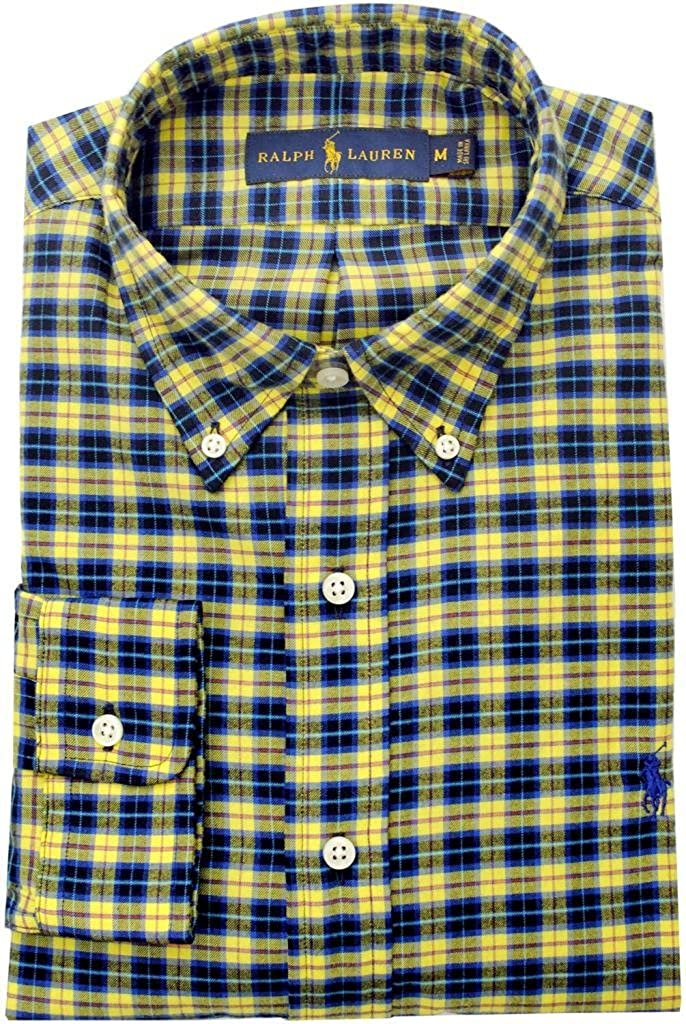 Polo Ralph Lauren Men's Custom-Fit Plaid Twill Button Down, Yellow/Navy, Medium