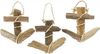 Nautical Ornament | 3 Piece Drift Wood Anchor Set | (3) 4