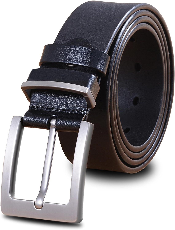 LUCIANO Cowhide Genuine Leather Black & Brown Belt Men's Dress Belts