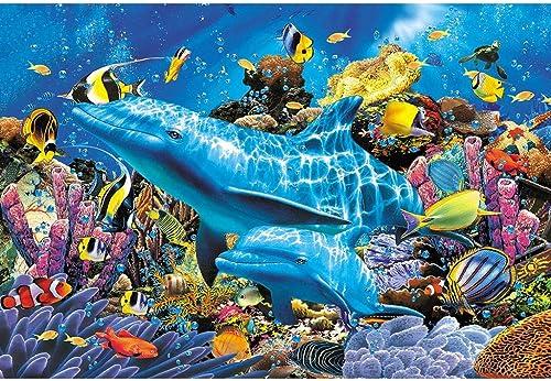 Delfine & Wale, Holzpuzzle, Aquatic Mammal Fish Collection, Perfekter Schnitt & Passform, 300 500 1000 1500 2000 Stück Lorbeerwald-Spielzeug für Erwachsene Sommus SY (Farbe   I, Größe   1500pc)