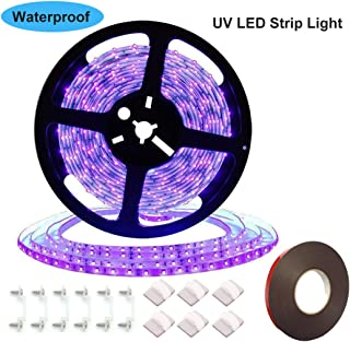 UV/Ultraviolet Black Lights LED Strip 300 LEDs 16.4Ft/5M 3528 Flexible Waterproof Backlights Purple Light, for Outdoor Party, Body Paint, Night Fishing, Work with DC12V Power Supply(Not Included)